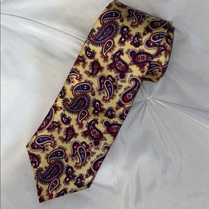Yves Saint Laurent Yellow Silk Paisley Necktie